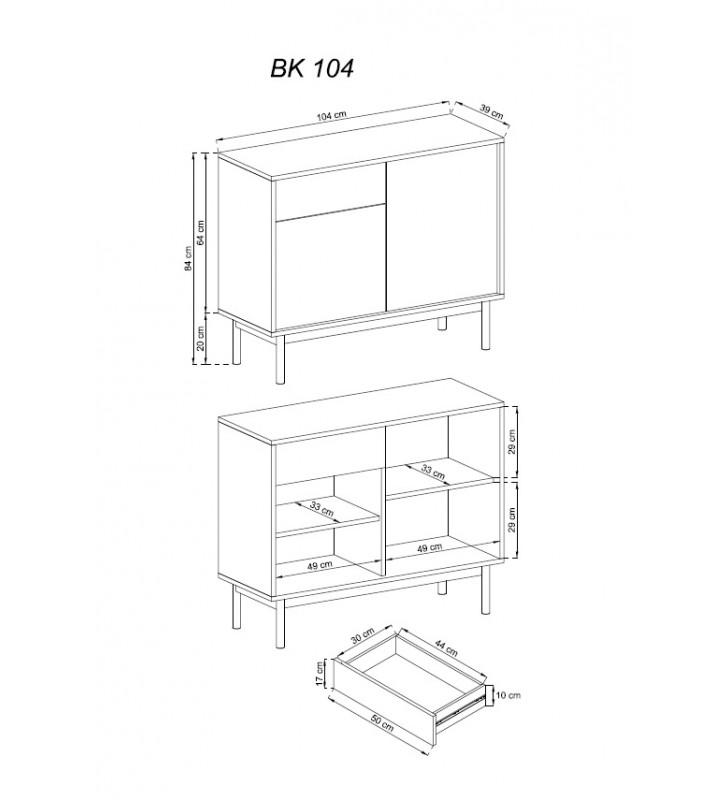 Brązowo-grafitowa komoda BASIC BK104