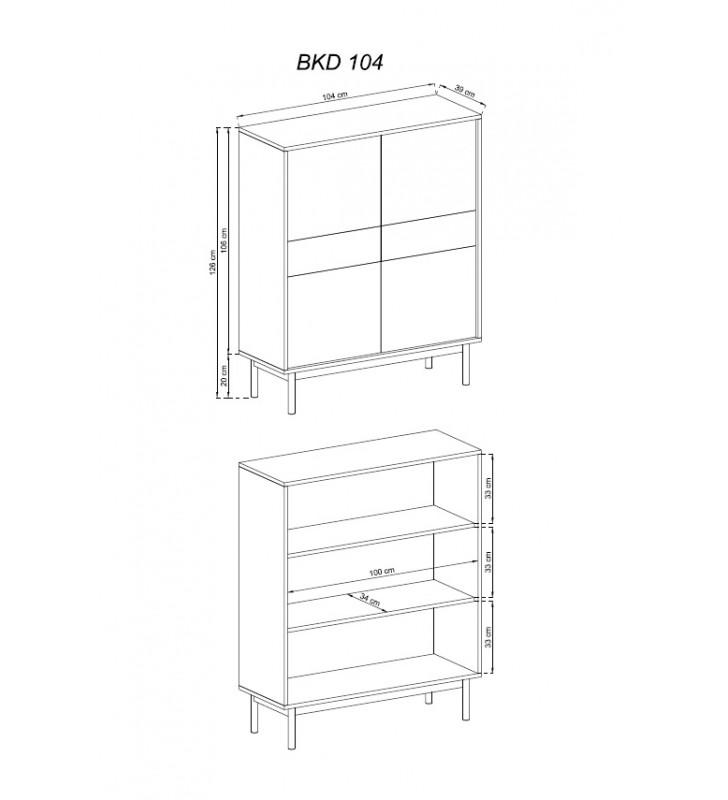 Wysoka brązowo-grafitowa komoda BASIC BKD104