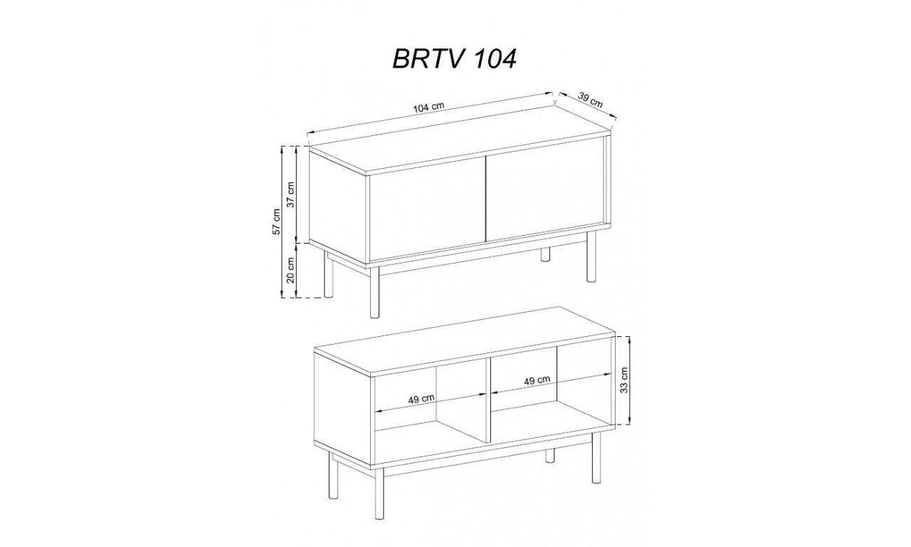 Brązowo-grafitowy stolik RTV BASIC BRTV104