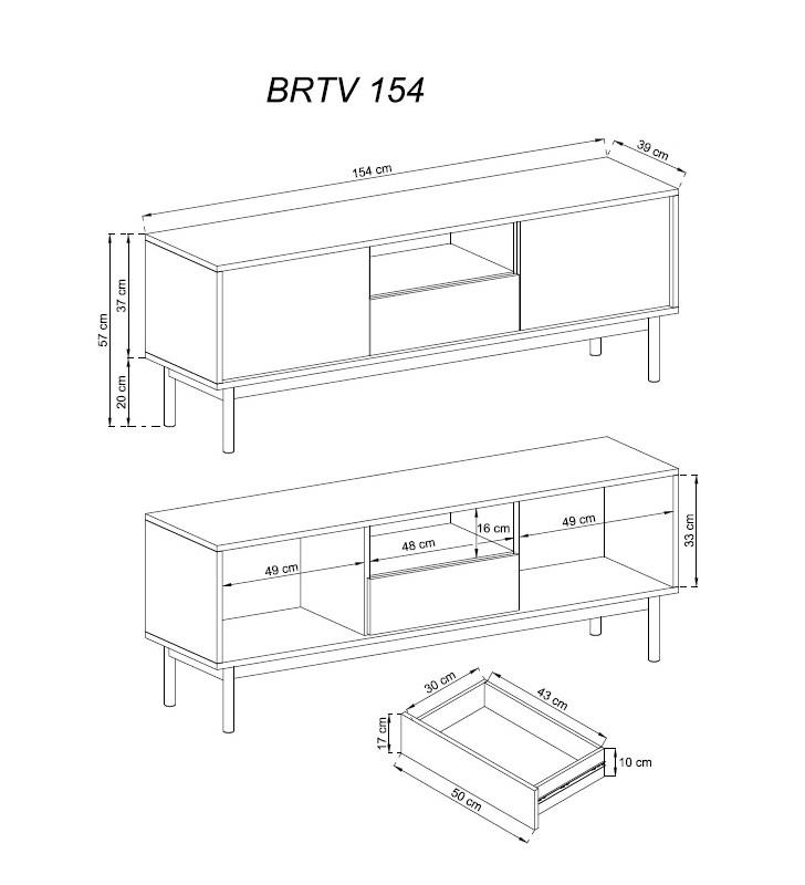 Szeroki, brązowo-grafitowy stolik RTV BASIC BRTV154