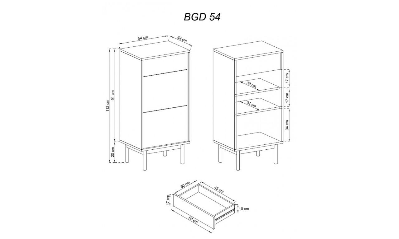Brązowo-grafitowa szafka na buty BASIC BGD54