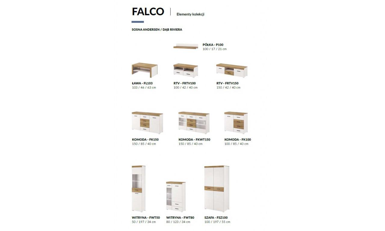 Białobrązowa, wysoka witryna w stylu nowoczesnym Falco FWT50
