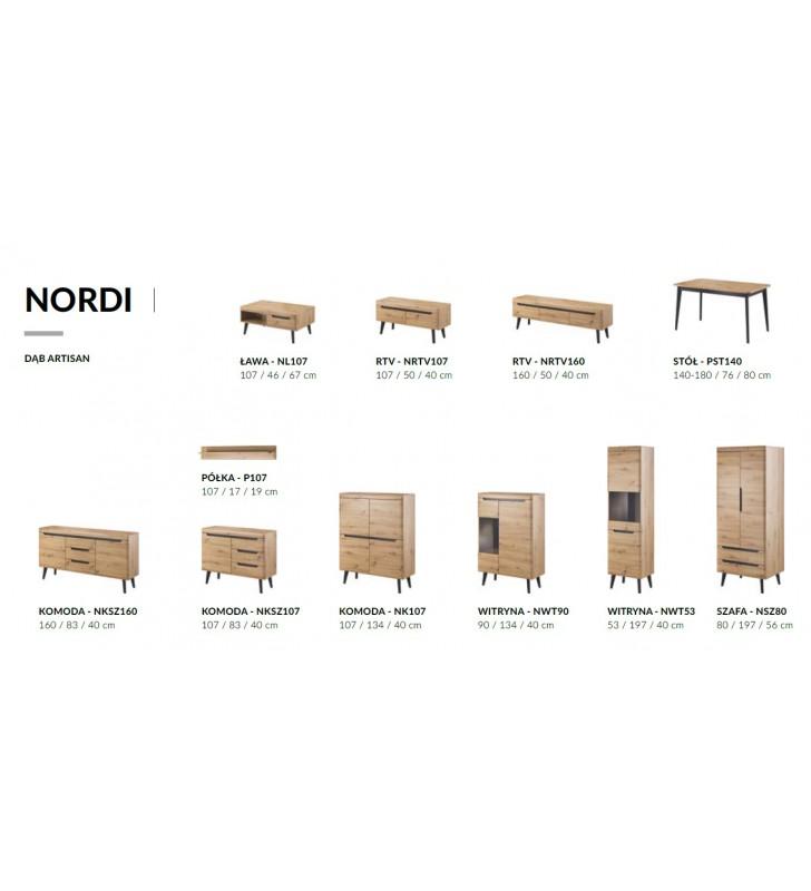 Brązowa, wysoka witryna w stylu skandynawskim Nordi NWT53