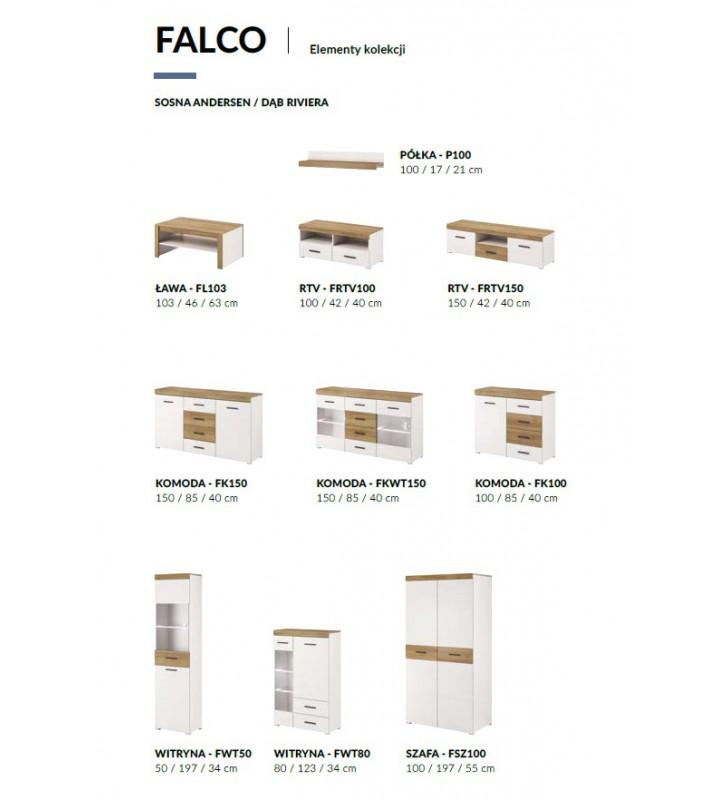 Zestaw białobrązowych mebli do salonu w stylu nowoczesnym Falco 1