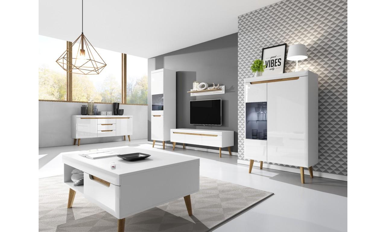Szeroki, biały stolik RTV w stylu skandynawskim Nordi NRTV160