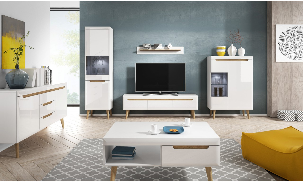 Biały stolik RTV w stylu skandynawskim Nordi NRTV107