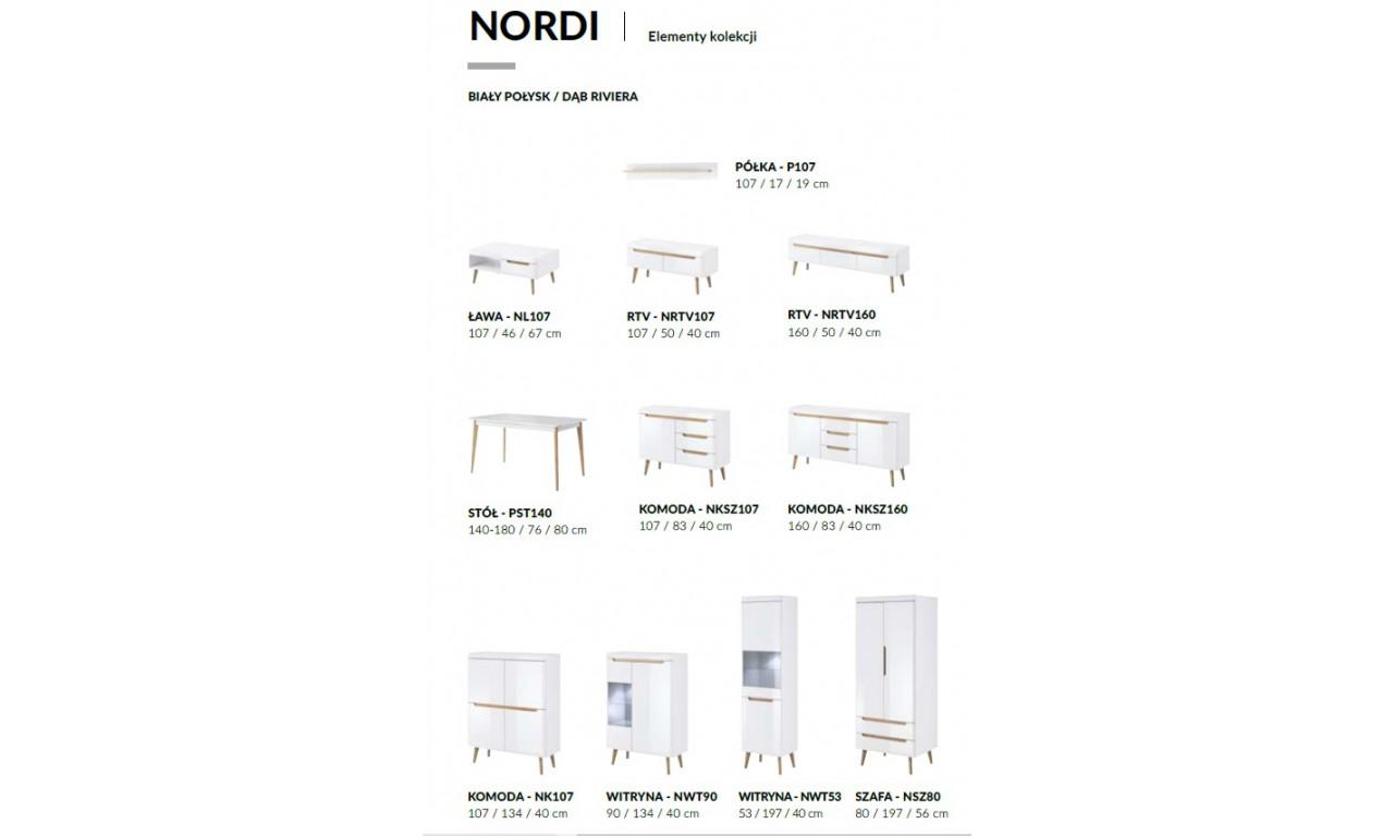Wysoka, biała witryna w stylu skandynawskim Nordi NWT53