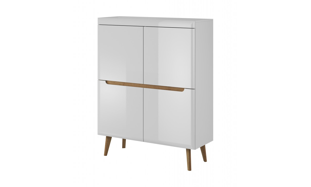Wysoka, biała komoda w stylu skandynawskim Nordi NK107