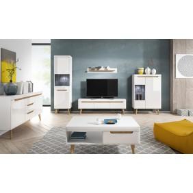 Zestaw białych mebli do salonu w stylu skandynawskim NORDI 3