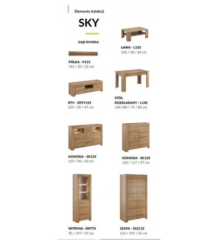 Brązowa witryna w stylu klasycznym Sky SWT70