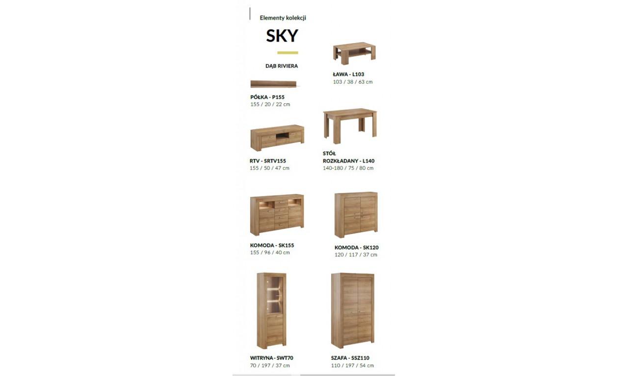Brązowy, rozkładany stół (140-180 cm) w stylu klasycznym Sky L140