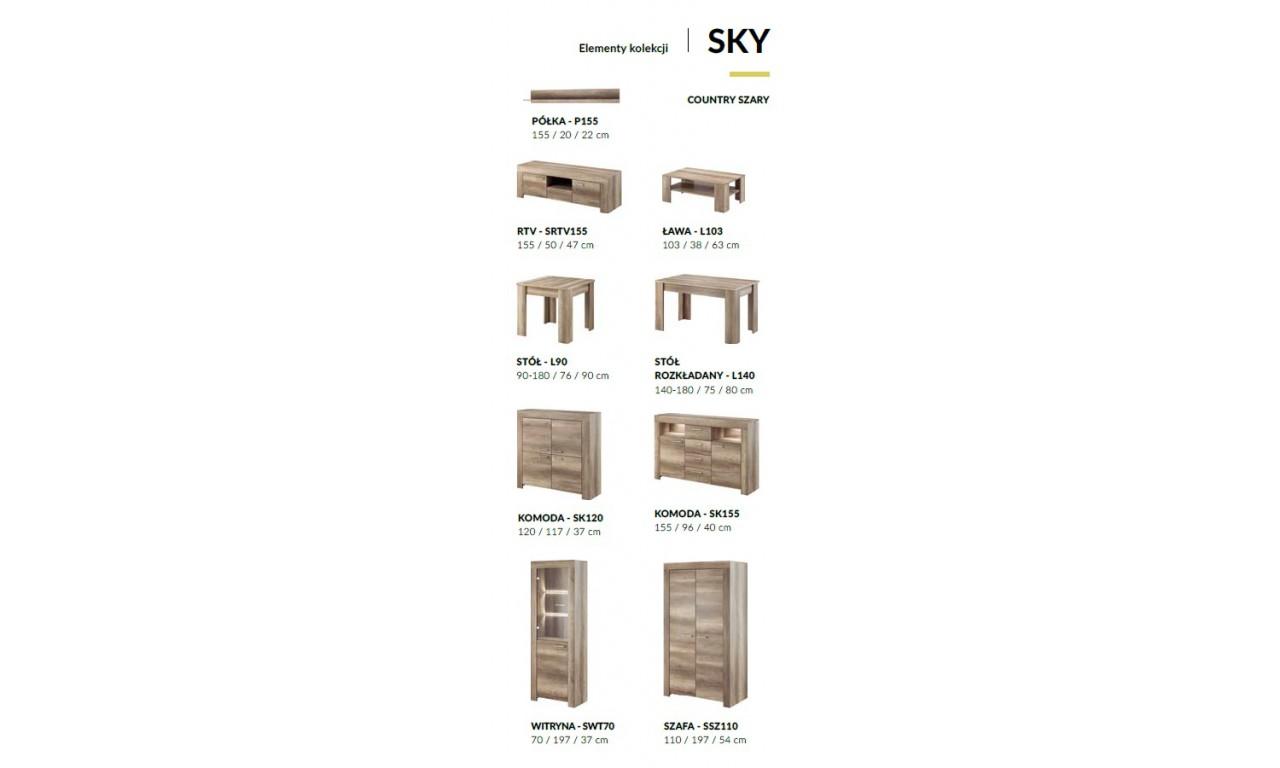 Szeroka komoda w stylu klasycznym w odcieniu brązu Sky SK155