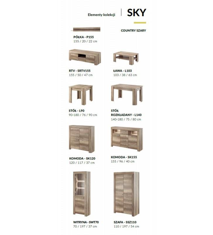 Witryna w stylu klasycznym w odcieniu brązu Sky SWT70