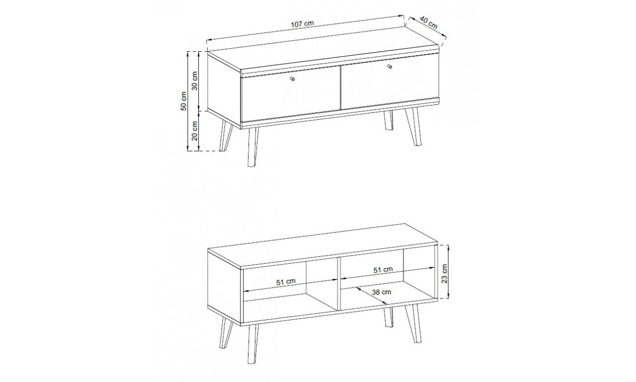 Biało-brązowy stolik RTV w stylu skandynawskim PRIMO PRTV107