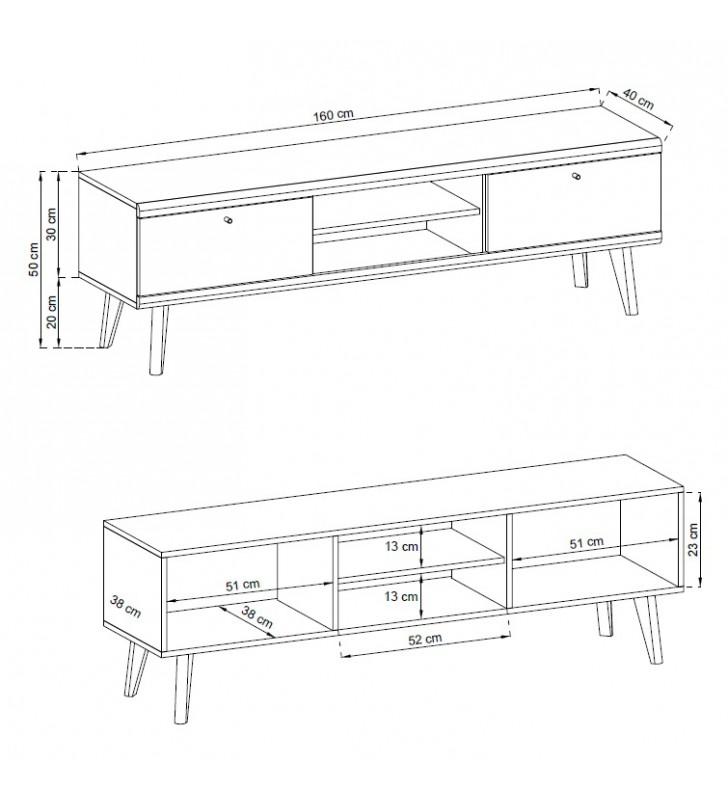 Biało-brązowy, szeroki stolik RTV w stylu skandynawskim PRIMO PRTV160