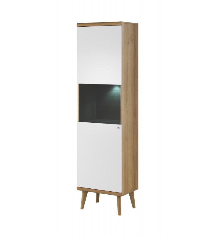 Biało-brązowa, wysoka witryna w stylu skandynawskim PRIMO PWT50