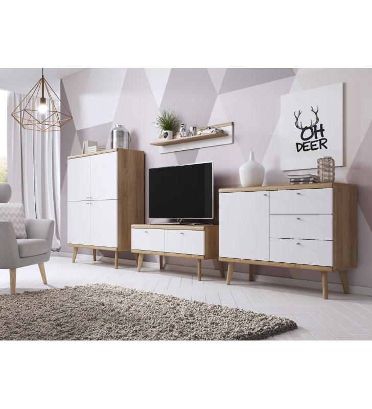 Biało-brązowa komoda w stylu skandynawskim PRIMO PKSZ107