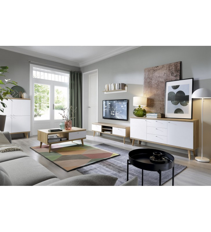 Biało-brązowy rozkładany stół (140-180 cm) w stylu skandynawskim PRIMO PST140