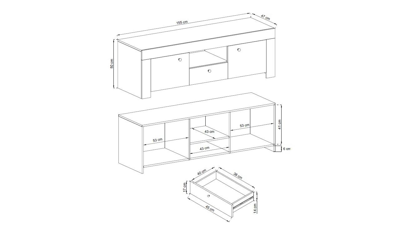 Biały stolik RTV w stylu klasycznym Rene RRTV155