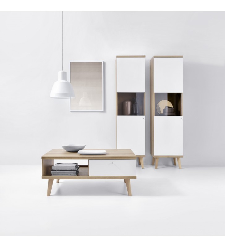 Biało-brązowa półka w stylu skandynawskim PRIMO P107