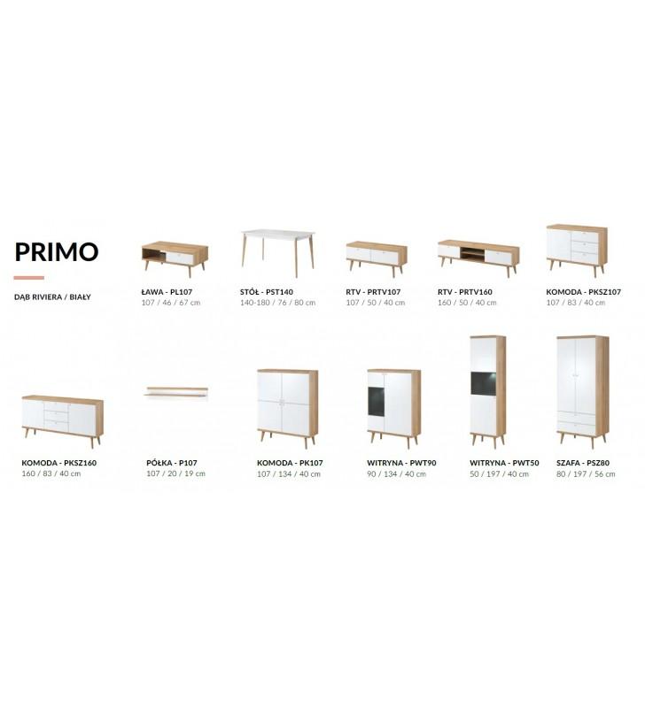 Biało-brązowa, wysoka komoda w stylu skandynawskim PRIMO PK107