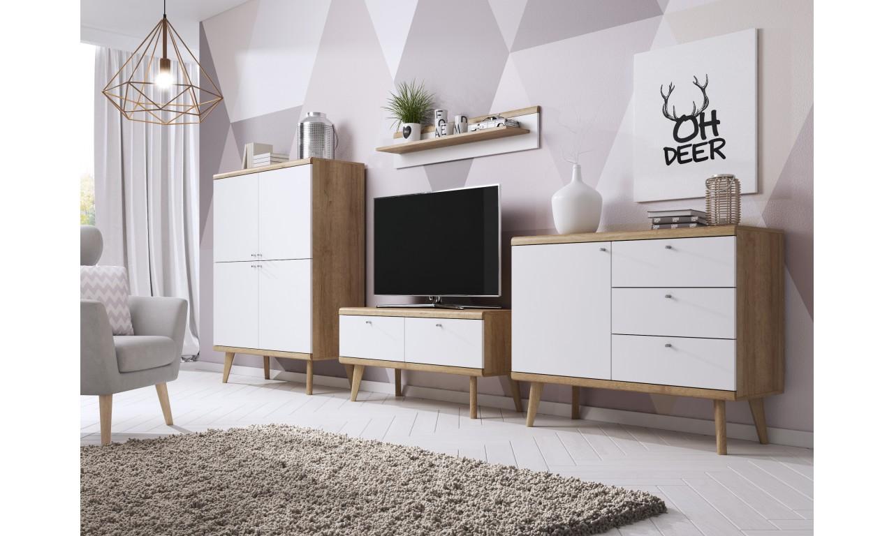 Szeroka, biało-brązowa komoda w stylu skandynawskim PRIMO PKSZ160