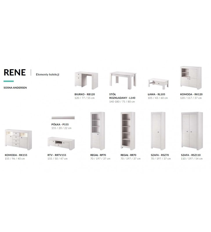 Biała, szeroka komoda w stylu klasycznym Rene RK155