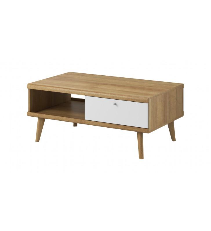 Biało-brązowy zestaw mebli do salonu w stylu skandynawskim PRIMO 1