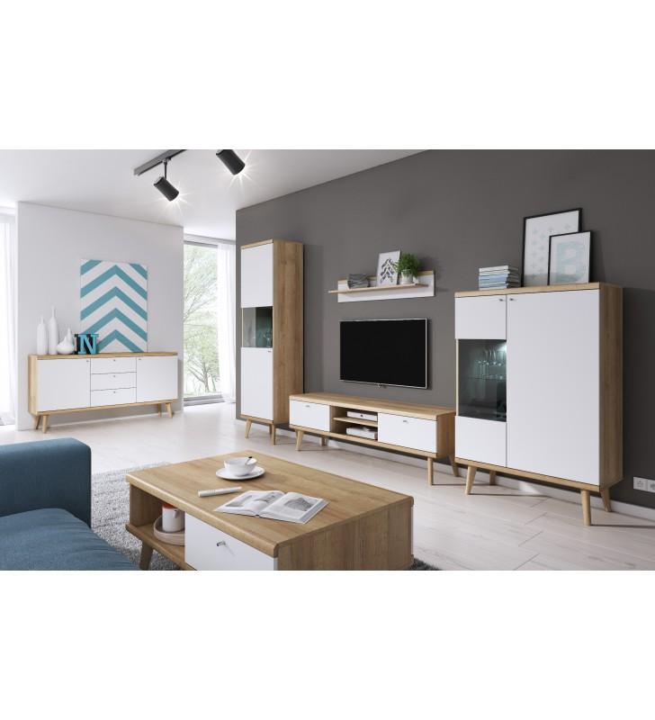 Biało-brązowy zestaw mebli do salonu w stylu skandynawskim PRIMO 2