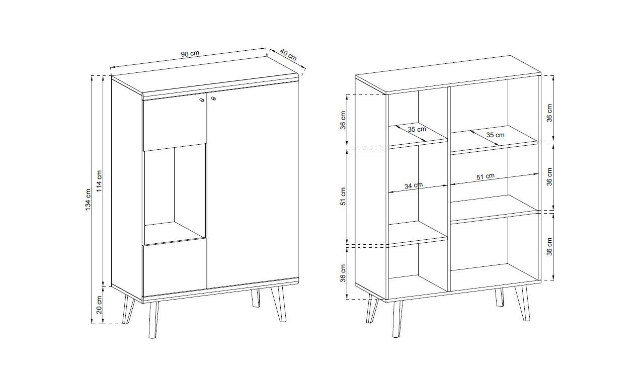 Biało-brązowy, kompaktowy zestaw mebli do salonu w stylu skandynawskim PRIMO 4
