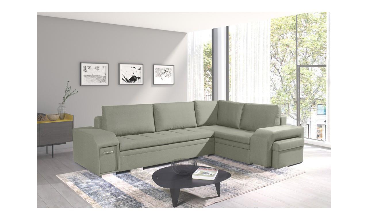 Zielony narożnik z pufą, funkcją spania i dwoma pojemnikami na pościel Ail
