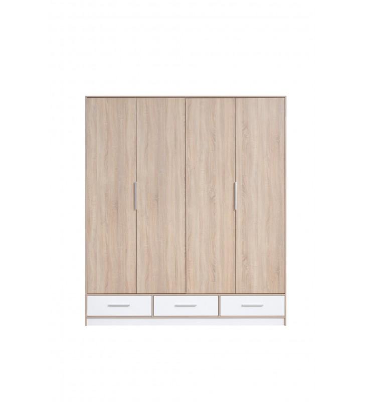 Brązowo-biała szafa przesuwna z łamanymi drzwiami ISKO