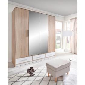 Brązowo-biała szafa przesuwna z lustrem i z łamanymi drzwiami ISKO