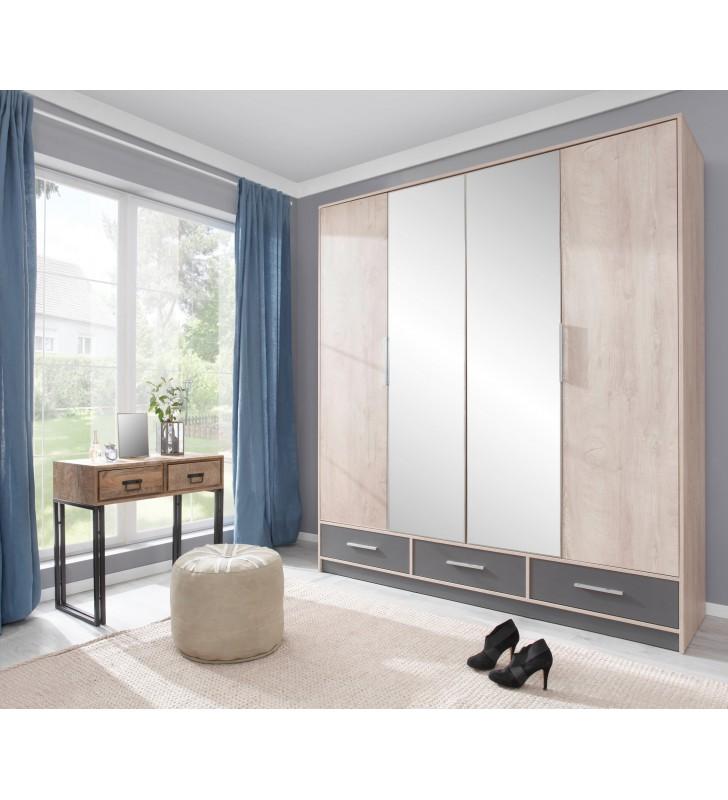 Brązowo-szara szafa przesuwna z lustrem i z łamanymi drzwiami ISKO