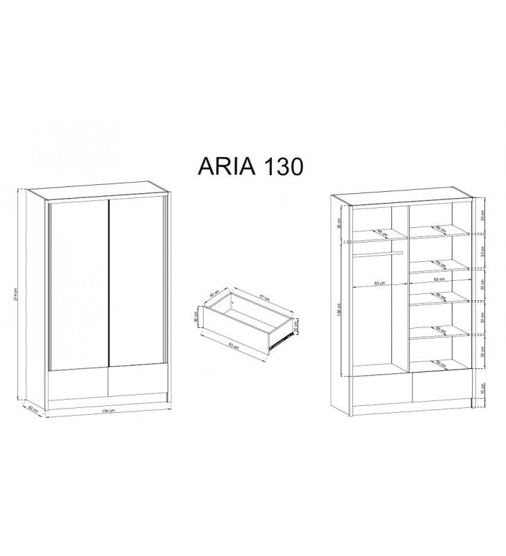 Białobrązowa szafa przesuwna z lustrem ARIA I 130