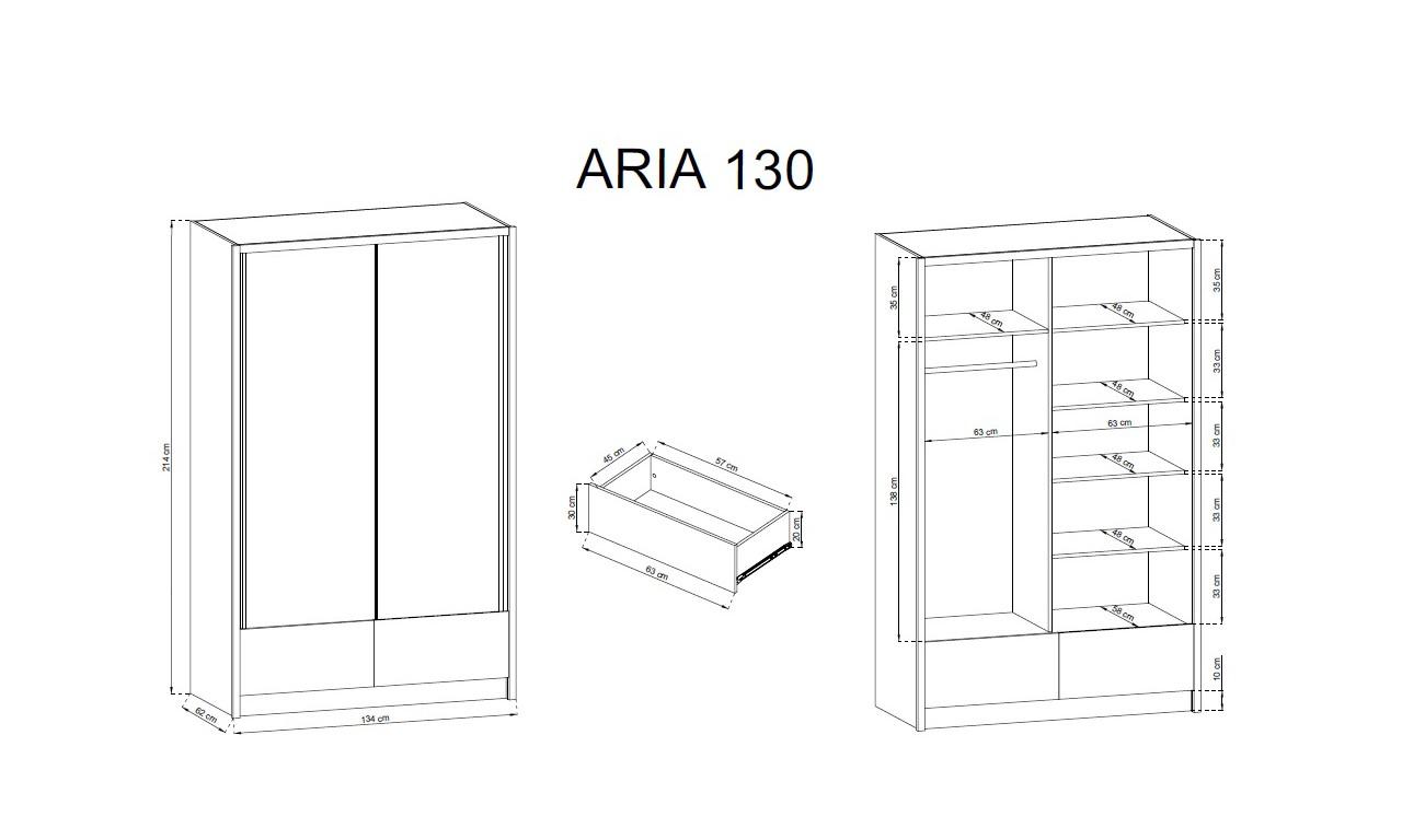 Białobrązowa szafa przesuwna z lustrami ARIA II 130