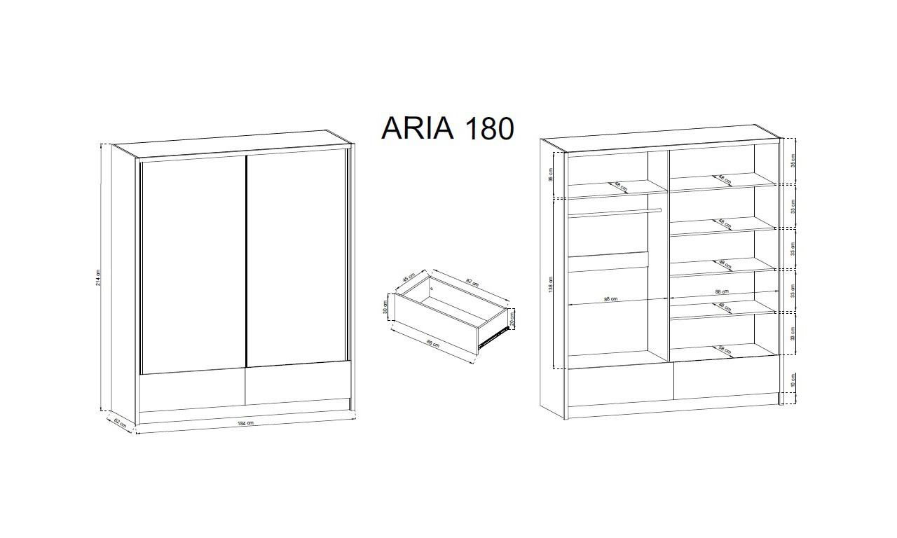 Białobrązowa szafa przesuwna z lustrami ARIA II 180