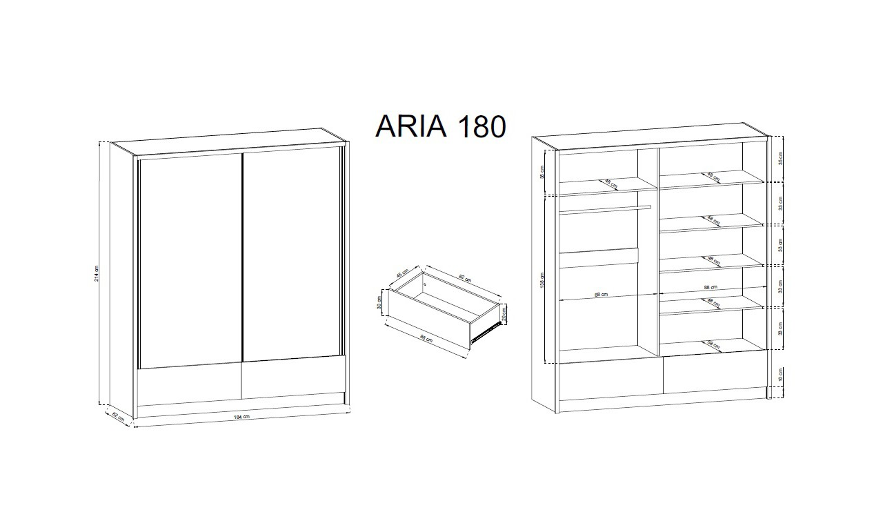 Biała szafa przesuwna z lustrami ARIA II 180