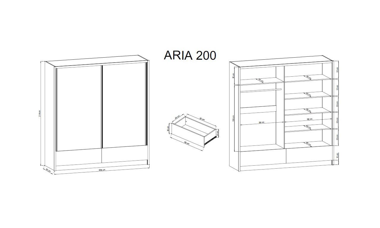 Białobrązowa szafa przesuwna z lustrami ARIA II 200