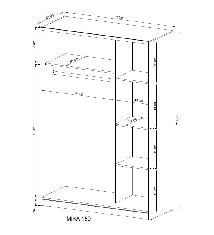 Jasnobrązowa szafa przesuwna z lustrem MIKA II 150