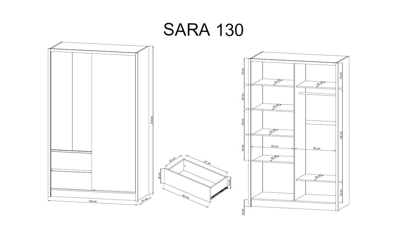 Biało-brązowa (sonoma) szafa przesuwna z lustrem SARA 130