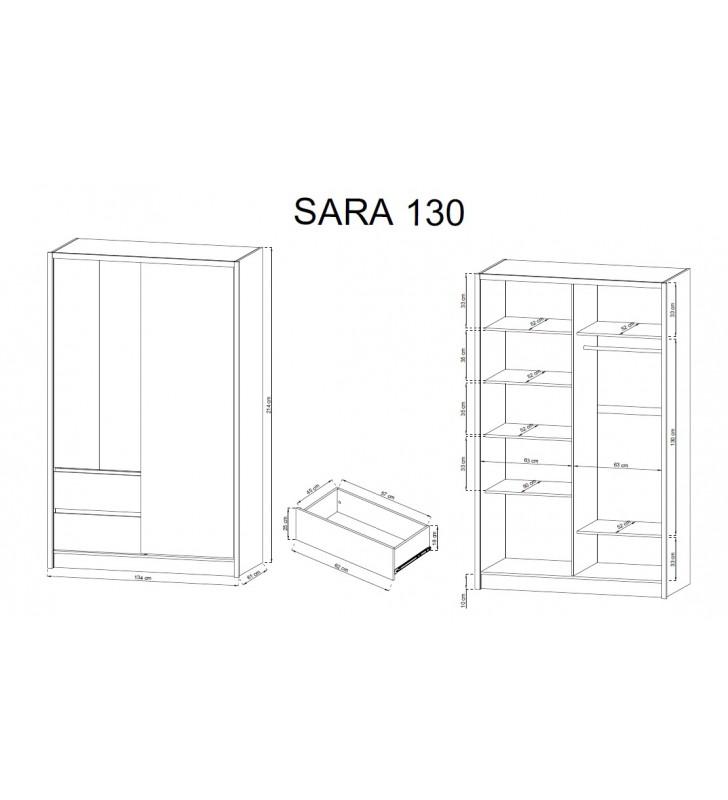 Biała szafa przesuwna z lustrem SARA 130