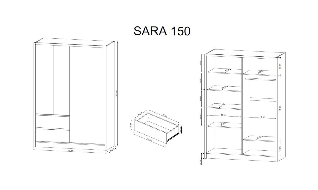 Biało-brązowa (sonoma) szafa przesuwna z lustrem SARA 150