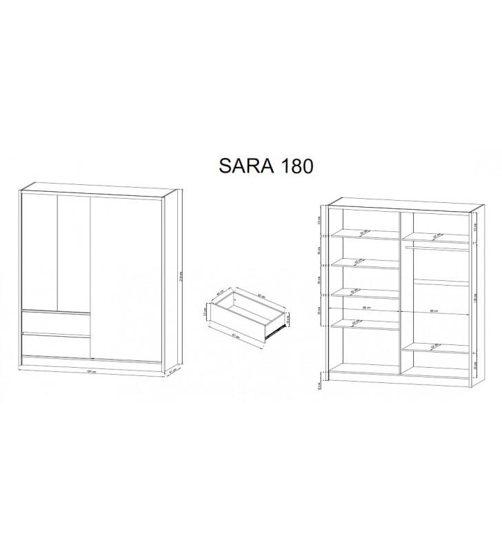 Biała szafa przesuwna z lustrem SARA 180