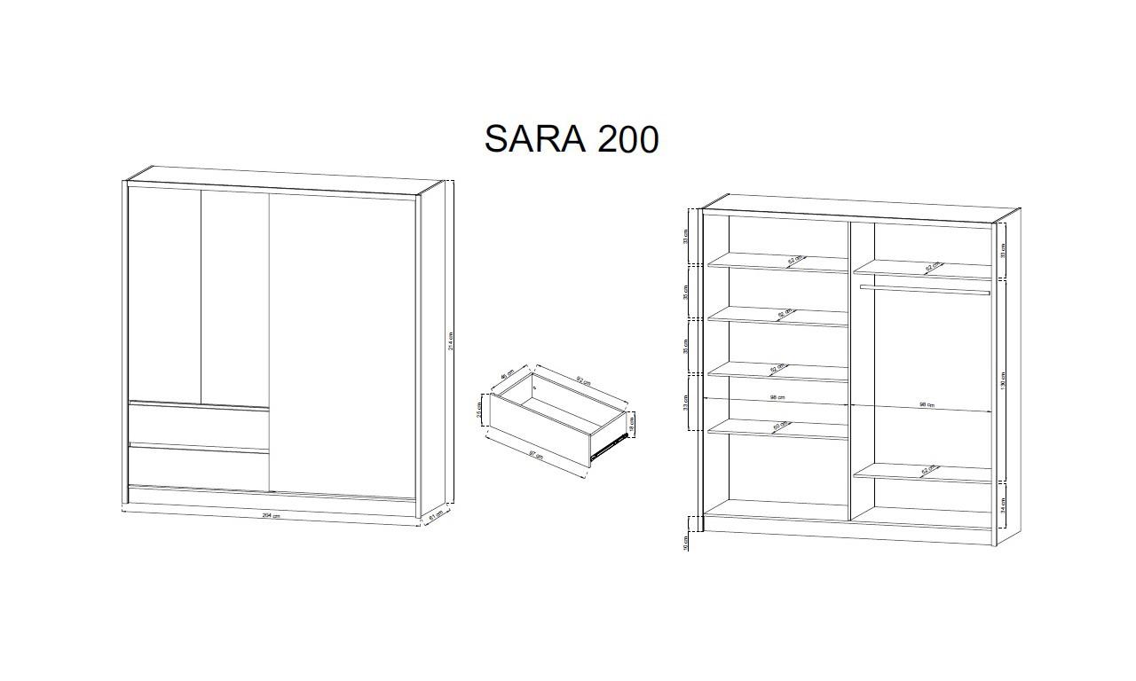 Biało-brązowa (sonoma) szafa przesuwna z lustrem SARA 200
