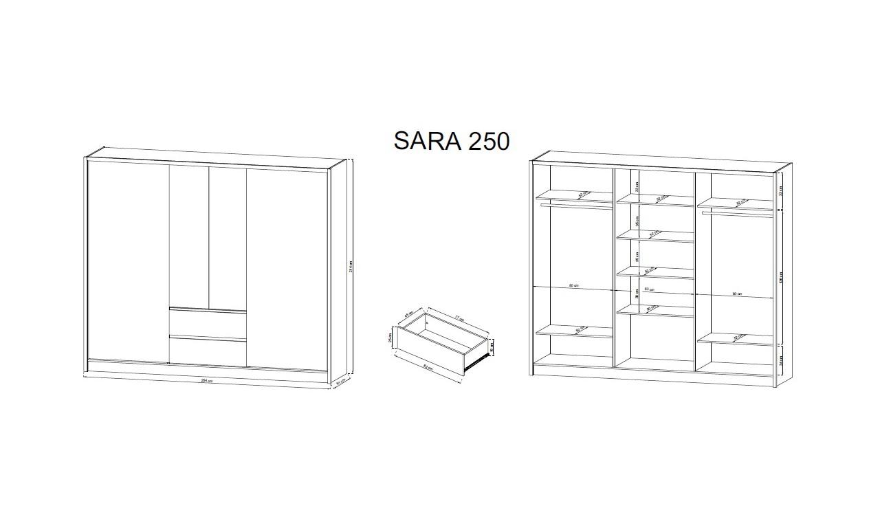 Bardzo szeroka, biało-brązowa (dąb artisan) szafa przesuwna z lustrami SARA 250