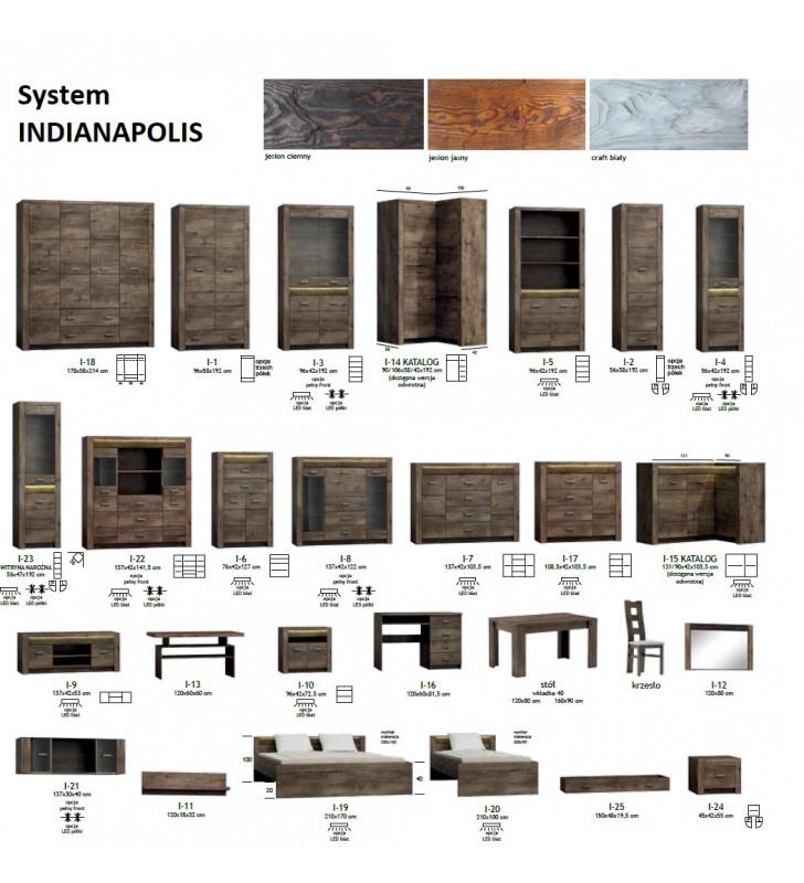 Witryna narożna z ryflowanymi elementami drewna sosnowego Indianapolis I-23