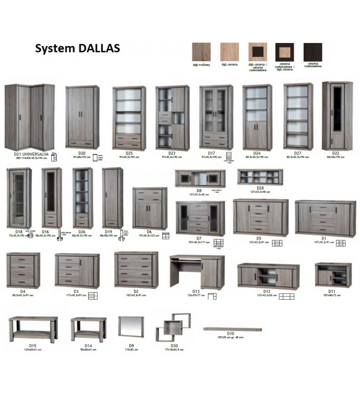 Zestaw brązowych mebli w stylu klasycznym do salonu Dallas 5