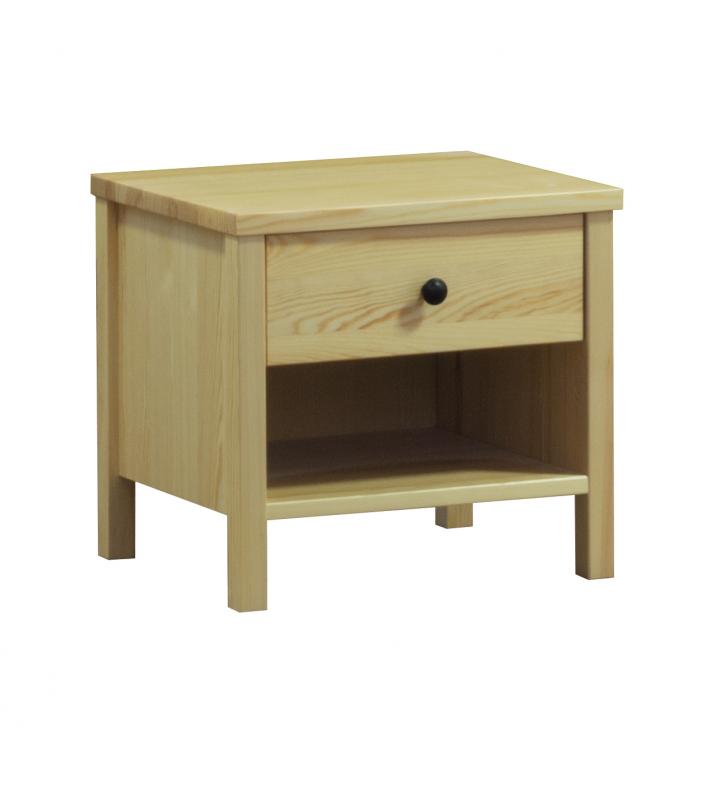 Stolik nocny z litego drewna sosnowego należący do kolekcji Prestige