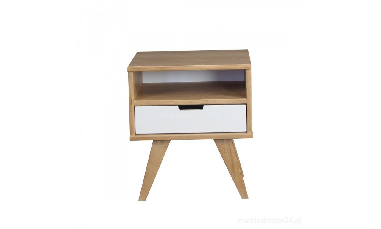 Stolik nocny należący do kolekcji Malmo z litego drewna sosnowego